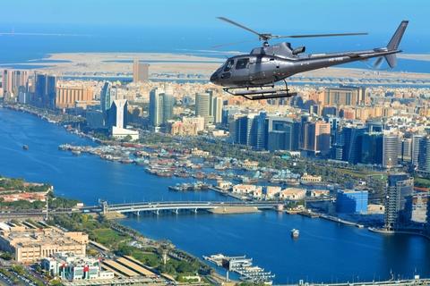 Helikoptervlucht over de Palm Jumeirah