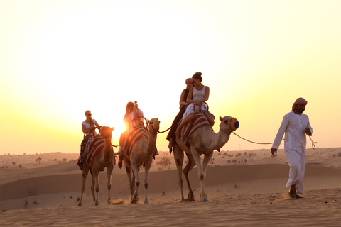 Van Dubai: Sunset kamelentocht met shows & BBQ bij Al Khayma
