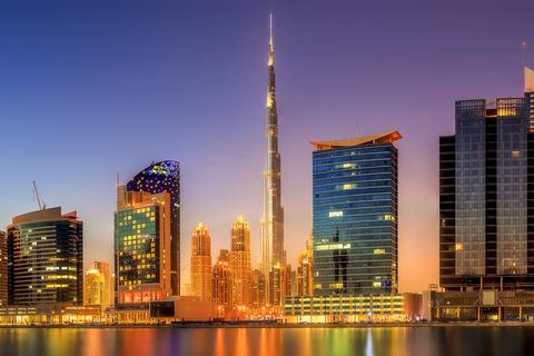 Dubai: Burj Khalifa-viplounge met panoramische zonsondergang