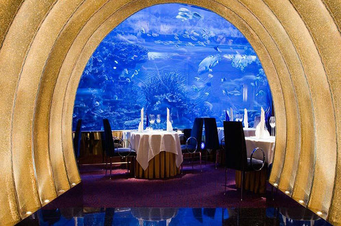 Gastronomisch diner in Al Mahara in Burj Al-Arab in Dubai met privévervoer